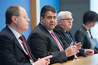 """15 MAY 2012, BERLIN/GERMANY:<br /> Peer Steinbrueck (L), SPD, Bundesminister a.D., Sigmar Gabriel (M), SPD Parteivorsitzender, Frank-Walter Steinmeier (R), SPD Fraktionsvorsitzender, Pressekonferenz zum Thema """" Der Weg aus der Krise – Wachstum und Beschäftigung in Europa"""", Bundespressekonferenz<br /> IMAGE: 20120515-01-022<br /> KEYWORDS: Peer Steinbrück"""