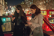 LINDA EGAN; VICKY MORLEY, BUS STOPS, Juergen Teller: Routemaster Bus to view and exhibition of Juergen Teller Photographs on the roof of Bus Stops.  , The Strand, London. 13 February 2014.