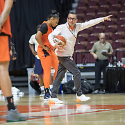 UNCASVILLE, CONNECTICUT- May 2:  Curt Miller, head coach of the Connecticut Sun during the Connecticut Sun pre season training in preparation for the 2018 WNBA season at Mohegan Sun Arena on May 2, 2018 in Uncasville, Connecticut. (Photo by Tim Clayton/Corbis via Getty Images)