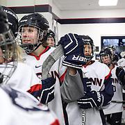 UConn players prepare to take to the ice during the UConn Vs Boston University, Women's Ice Hockey game at Mark Edward Freitas Ice Forum, Storrs, Connecticut, USA. 5th December 2015. Photo Tim Clayton