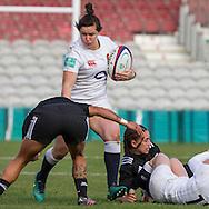 Marlie Packer in action, England Women v New Zealand Women in an Old Mutual Wealth Series, Autumn International match at Twickenham Stoop, Twickenham, England, on 19th November 2016. Full Time score 20-25