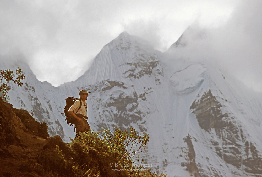 Bob Greely near the base of the glaciers in the Huayhuash Range, Peru