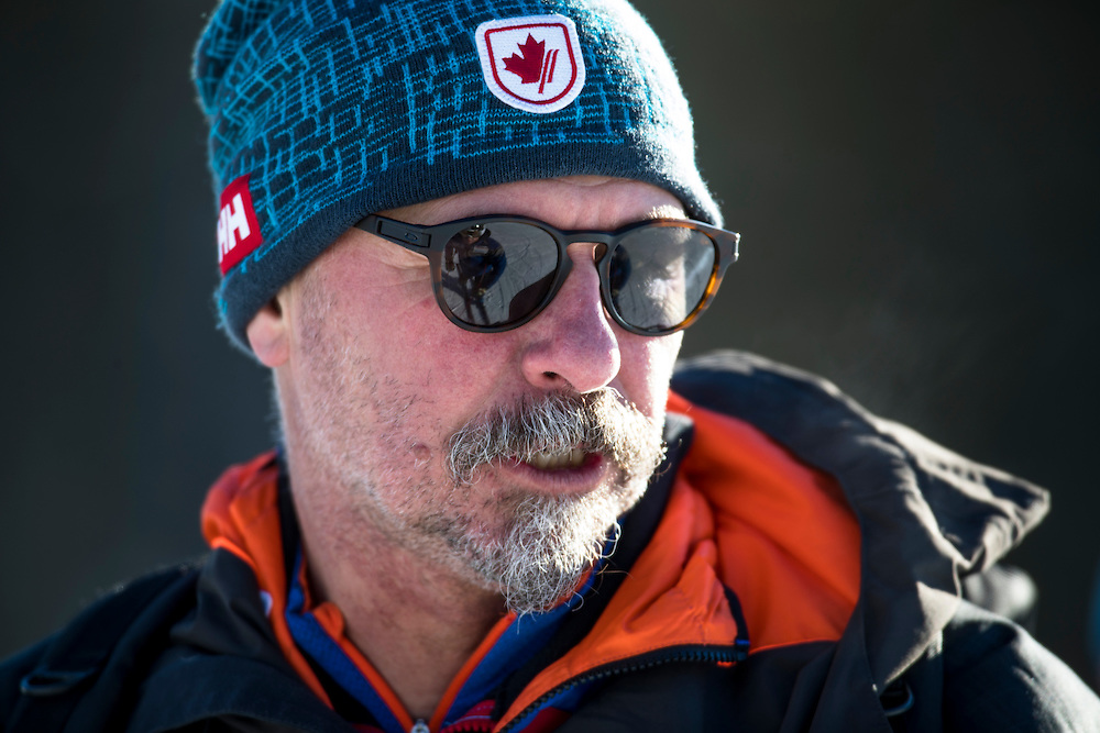 Canadian Domestic Director Dusan Grasic at the first women's downhill training session during the Alpine Skiing FIS World Cup at Lake Louise, Canada on November 29, 2016.