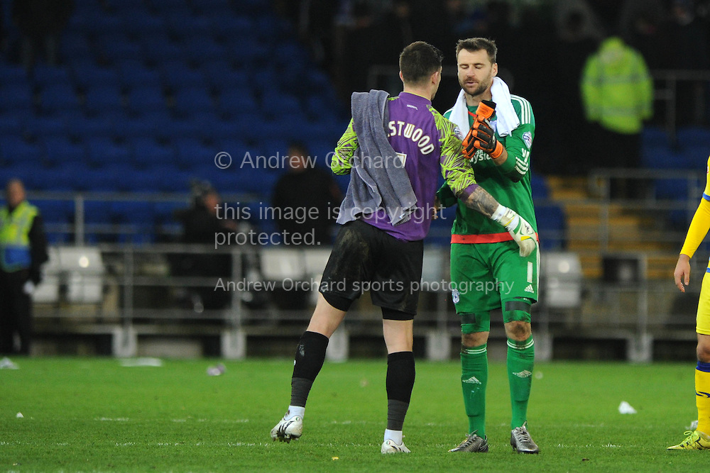 Keiren Westwood, the Sheffield Wed goalkeeper (l) with Cardiff city goalkeeper David Marshall at the end of the game. Skybet football league championship match, Cardiff city v Sheffield Wednesday at the Cardiff city stadium in Cardiff, South Wales on Saturday 12th December 2015.<br /> pic by Andrew Orchard, Andrew Orchard sports photography.