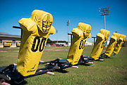 Training equipment sits on the at Grambling State University practice field in Grambling, Louisiana on October 23, 2013.  (Cooper Neill for The New York Times)