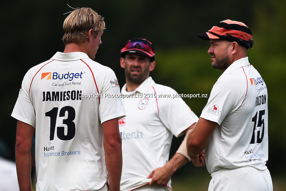 Canterbury player Kyle Jamieson (L) talks with Canterbury captain Peter Fulton during their Plunket Shield cricket game Central Stags v Canterbury. Saxton Oval, Nelson, New Zealand. Sunday 14  February 2016. Copyright Photo: Chris Symes / www.photosport.nz
