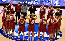 March 19, 2010; Stanford, CA, USA;  Stanford Cardinal head coach Tara VanDerveer talks to her team with two thumbs up before the first round game of the 2010 NCAA Womens Division I Championship at Maples Pavilion.