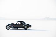 Image of a black hot rod racecar at Speed Week 2018 at the Bonneville Salt Flats, Utah, American Southwest