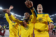 Oliver Ntcham celebrates with his teammates at the end of the UEFA Europa League, Group E football match between SS Lazio and Celtic FC on November 7, 2019 at Stadio Olimpico in Rome, Italy - Photo Federico Proietti / ProSportsImages / DPPI