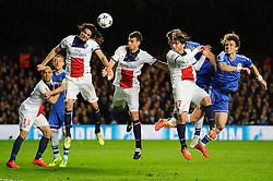 PSG Forward Edinson Cavani (URU) defends a header from Chelsea Defender David Luiz (BRA) - Photo mandatory by-line: Rogan Thomson/JMP - 07966 386802 - 08/04/2014 - SPORT - FOOTBALL - Stamford Bridge, London - Chelsea v Paris Saint-Germain - UEFA Champions League Quarter-Final Second Leg.