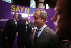 © Licensed to London News Pictures. 04/09/2015. London, UK. United Kingdom Independence Party (UKIP) leader Nigel Farage talks to reporters as he launches his 'Say No to EU referendum' tour and campaign at the Emmanuel Centre. Photo credit: Peter Macdiarmid/LNP