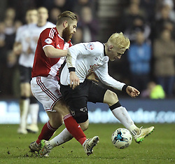 Middlesbrough's Adam Clayton fouls Derby County's Will Hughes - Photo mandatory by-line: Robbie Stephenson/JMP - Mobile: 07966 386802 - 17/03/2015 - SPORT - Football - Derby - iPro Stadium - Derby County v Middlesbrough - Sky Bet Championship