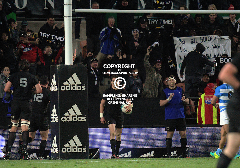Beauden Barrett celebrates his try during The Rugby Championship match between the NZ All Blacks and Argentina Pumas at FMG Stadium in Hamilton, New Zealand on Saturday, 10 September 2016. Photo: Dave Lintott / lintottphoto.co.nz