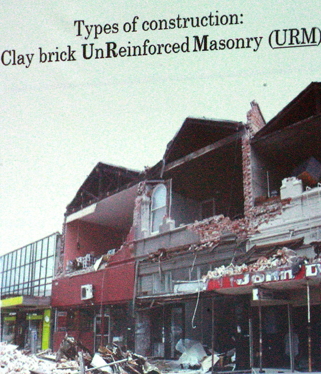 Examples of unreinforced masonry shown by Jason Ingham who is Associate Professor of Structural Engineering, Department of Civil and Environmental Engineering, The University of Auckland at the Canterbury Earthquakes Royal Commission public hearing on unreinforced Masonry Buildings, St Teresa's Church Hall, Christchurch, New Zealand, Monday, November 07, 2011. Credit:SNPA / The Press, Stacey Squires