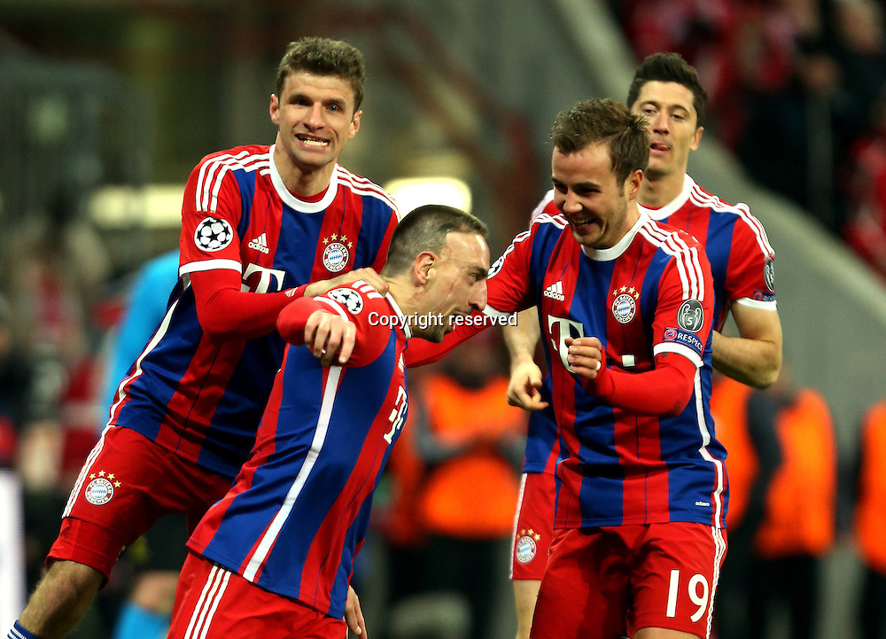 11.03.2015. Allianz Stadium, Munich, Germany. UEFA Champions League football. Bayern Munich versus Shakhtar Donetsk. Scorer Franck Ribery (Bayern) makes it 3:0 with Thomas Muller  Marco Gotze and Robert Lewandowski The game ended 7-0 to Bayern over Shakhtar.