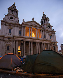 © Licensed to London News Pictures. 25/12/2011. LONDON, UK. Christmas Day dawns on the Occupy London protest outside St Pauls Cathedral. Photo credit: Matt Cetti-Roberts/LNP