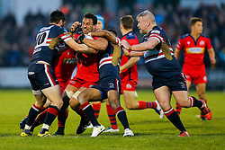 Bristol Rugby Flanker Marco Mama is tackled by Doncaster Knights Fly-Half Dec Cusack and Winger Andy Bulumakau - Mandatory byline: Rogan Thomson/JMP - 18/05/2016 - RUGBY UNION - Castle Park - Doncaster, England - Doncaster Knights v Bristol Rugby - Greene King IPA Championship Play Off FINAL 1st Leg.