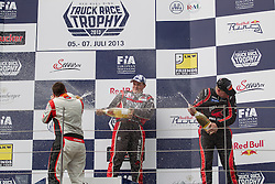 06.07.2013, Red Bull Ring, Spielberg, AUT, Truck Race Trophy, Renntag 1, im Bild Adam Lacko, (CZE, MKR Technology, #3, 1. Platz), Norbert Kiss, (HUN, Oxxo Energy Truck Race Team, #10, 2. Platz), Mika Maekinen, (FIN, Mika Maekinen, #7, 3. Platz) // during the Truck Race Trophy 2013 at the Red Bull Ring in Spielberg, Austria, 2013/07/06, EXPA Pictures © 2013, PhotoCredit: EXPA/ M.Kuhnke