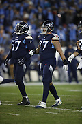 Tennessee Titans offensive tackle Taylor Lewan (77) in action during the week 14 regular season NFL football game against the Jacksonville Jaguars on Thursday, Dec. 6, 2018 in Nashville, Tenn. The Titans won the game 30-9. (©Paul Anthony Spinelli)