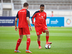 HELSINKI, FINLAND - Friday, July 31, 2015: Liverpool's new face Allan Rodrigues de Sousa warms up before a friendly match against HJK Helsinki at the Olympic Stadium. (Pic by David Rawcliffe/Propaganda)
