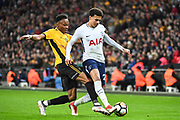 Tottenham Hotspur Midfielder Dele Alli (20) and Newport County Forward Shawn McCoulsky (15) battle for the ball during the The FA Cup 4th round replay match between Tottenham Hotspur and Newport County at Wembley Stadium, London, England on 7 February 2018. Picture by Stephen Wright.