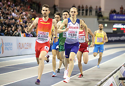 Spain's Alvaro de Arriba and Great Britian's Jamie Webb during the Men's 800m Finals during day three of the European Indoor Athletics Championships at the Emirates Arena, Glasgow.