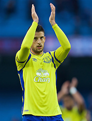 MANCHESTER, ENGLAND - Saturday, October 15, 2016: Everton's Kevin Mirallas applauds the supporters after the 1-1 draw with Manchester City during the FA Premier League match at the City of Manchester Stadium. (Pic by Gavin Trafford/Propaganda)