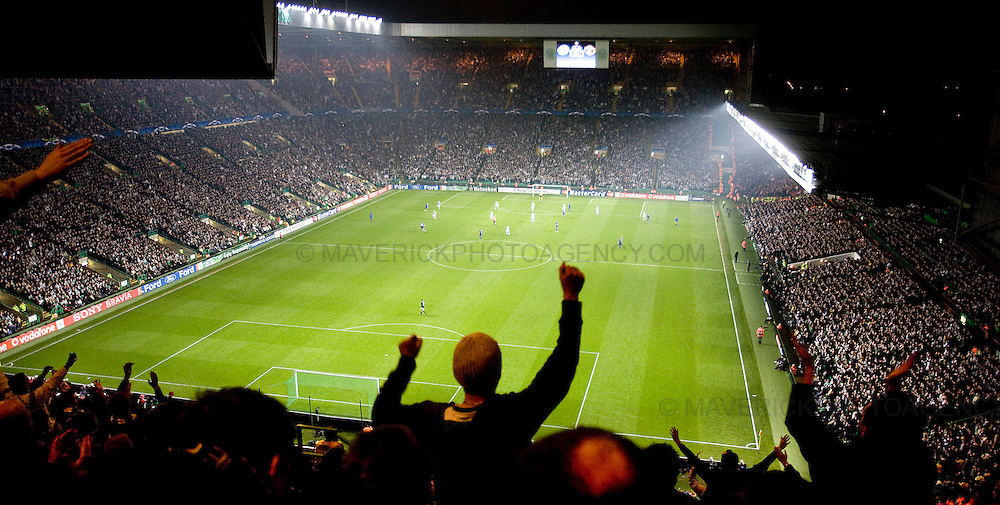General views of Celtic fans watching Celtic play Manchester United in the UEFA Champions League.