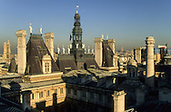 France. Paris. elevated view. The sacre coeur and Beaubourg museum. view from the roofs of the hotel de ville