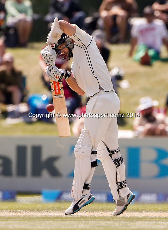 Kane Williamson plays a shot. Day 4, ANZ Boxing Day Cricket Test, New Zealand Black Caps v Sri Lanka, 29 December 2014, Hagley Oval, Christchurch, New Zealand. Photo: John Cowpland / www.photosport.co.nz