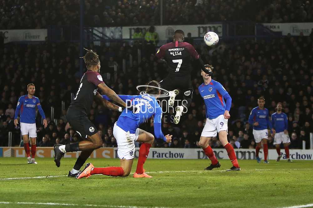 Mohamed Eisa scores a goal to make it 2-2 and celebrates during the EFL Sky Bet League 1 match between Portsmouth and Peterborough United at Fratton Park, Portsmouth, England on 7 December 2019.