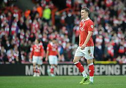 Bristol City's Matt Smith cuts a dejected figure - Photo mandatory by-line: Dougie Allward/JMP - Mobile: 07966 386802 - 25/01/2015 - SPORT - Football - Bristol - Ashton Gate - Bristol City v West Ham United - FA Cup Fourth Round