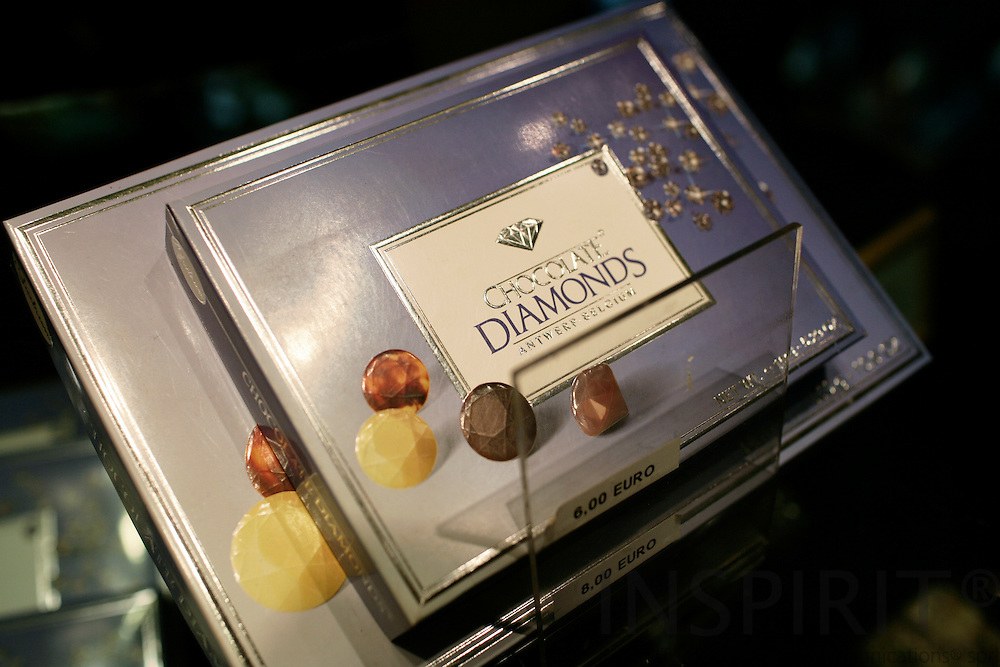 ANTWERP - BELGIUM - 19 MARCH 2007 -- Less can also do if there is no money for Diamond Jewellery. Here diamond chocolate for sale in Diamondland.  PHOTO: ERIK LUNTANG