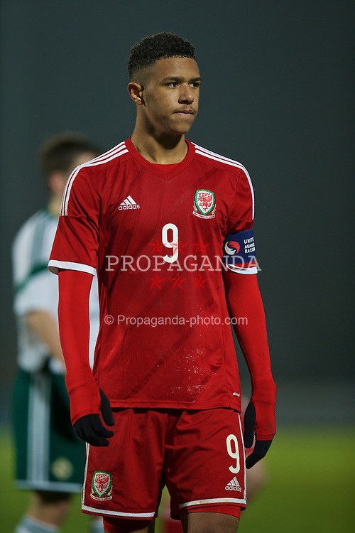 BALLYMENA, NORTHERN IRELAND - Thursday, November 20, 2014: Wales' captain Tyler Roberts in action against Northern Ireland during the Under-16's Victory Shield International match at the Ballymena Showgrounds. (Pic by David Rawcliffe/Propaganda)