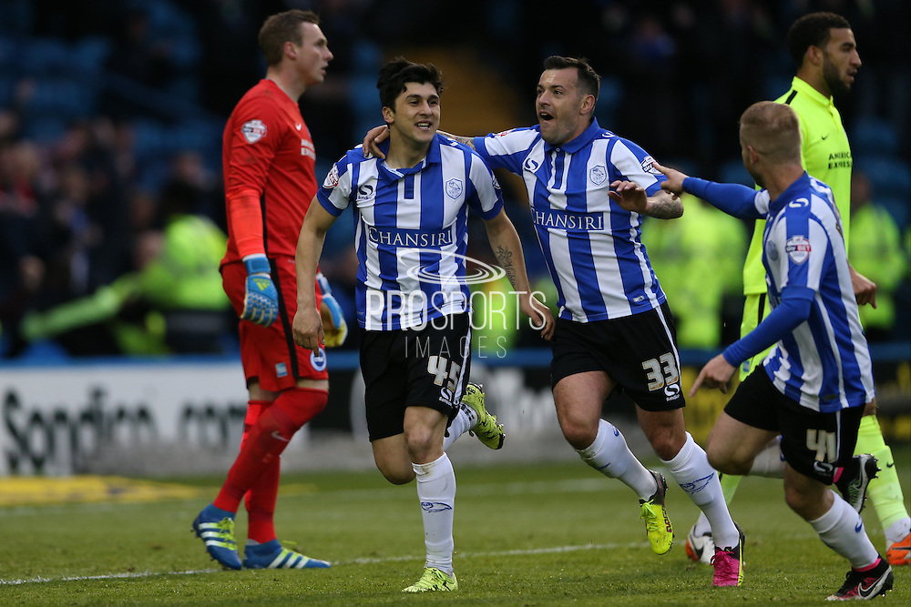 Sheffield Wednesday striker Fernando Forestieri (45) scores and celebrates but his goal is disallowed during the Sky Bet Championship Play Off First Leg match between Sheffield Wednesday and Brighton and Hove Albion at Hillsborough, Sheffield, England on 13 May 2016.