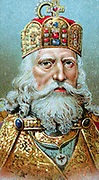 Charlemagne (Charles the Great) 747-814, king of the Franks; crowned Christian emperor of the west in St Peter's, Rome on Christmas Day 800. Chromolithograph c1920.