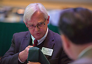 Dennis Irwin, the Dean of the Russ College of Engineering and Technology, talks to others at his table during lunch at the Fritz J. and Dolores H. Russ College of Engineering and Technology Student Awards Banquet, hosted by Tau Beta Pi, the engineering honor society at Ohio University, on April 10, 2016. (Photo by Emily Matthews