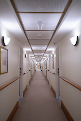 Corridor inside Queen Elizabeth 2 former ocean liner now reopened as hotel in Dubai , United Arab Emirates