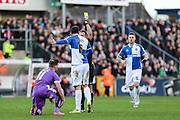 Bristol Rovers Tom Parkes receives a yellow card during the Sky Bet League 2 match between Bristol Rovers and Plymouth Argyle at the Memorial Stadium, Bristol, England on 23 January 2016. Photo by Shane Healey.