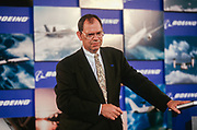 WASHINGTON, DC, USA - 1997/08/04: Boeing CEO Philip Condit during the announcement of details on the merger with McDonald Douglas at the Smithsonian's National Air & Space Museum August 4, 1997 in Washington, DC.  (Photo by Richard Ellis)