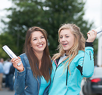 "12/08/2015 Meghan McCarthy, ""Delighted"" and Aoibhinn Cunningham  ""Happy Out""  with their leaving certificate results from Yeats College Galway. Photo:Andrew Downes"