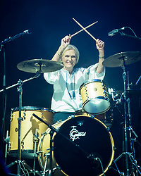 Mary Berry plays the drums on stage with Rick Astley at Camp Bestival 2018, Lulworth Castle, Wareham. Picture date: Friday 27th July 2018. Photo credit should read: David Jensen/EMPICS Entertainment