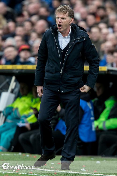ROTTERDAM - Feyenoord - ADO Den Haag , Voetbal , Seizoen 2017/2018 , Eredivisie , Stadion Feijenoord de Kuip , 28-01-2018 , ADO Den Haag Coach Fons Groenendijk coachend langs de lijn