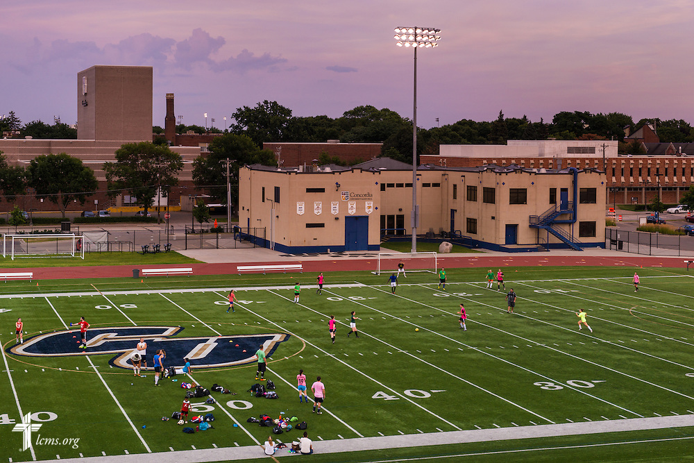 The sun sets over Sea Foam Stadium at Concordia University, Saint Paul, on Tuesday, August 5, 2014, in St. Paul, Minn.   LCMS Communications/Erik M. Lunsford