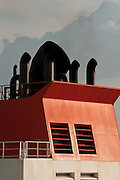 Smoke stack of carrier ship, Panama, Central America