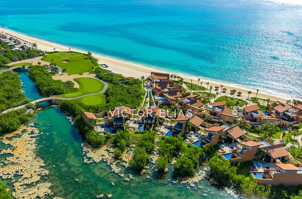 Aerial view of Banyan Tree Hotel. Riviera Maya. Quintana Roo. Mexico.