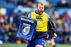 Cardiff Blues' Scott Andrews during the pre match warm up<br /> <br /> Photographer Craig Thomas/Replay Images<br /> <br /> European Rugby Challenge Cup Round Semi final - Cardiff Blues v Pau - Saturday 21st April 2018 - Cardiff Arms Park - Cardiff<br /> <br /> World Copyright © Replay Images . All rights reserved. info@replayimages.co.uk - http://replayimages.co.uk