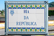 Painted ceramic tiles street sign of Rua da Republica in Aviero, Portugal