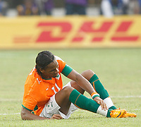 Photo: Steve Bond/Richard Lane Photography.<br /> Ivory Coast v Benin. Africa Cup of Nations. 25/01/2008. Didier Drogba gets a knock to the ankle