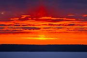 Waskasiuw Lake in winter<br /> Prince Albert National Park<br /> Saskatchewan<br /> Canada